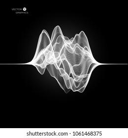 Pulse or signal vibration on black background. Vector Illustration.