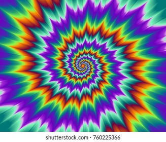 Pulsing fiery spirals. Optical illusion of movement.