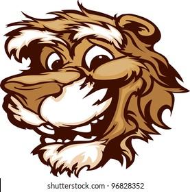 Puma Cougar Mascot with Cute Face Cartoon Vector Image
