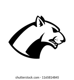 puma head sign. Design element for sport team logo, emblem, badge, mascot. Vector illustration