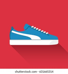 Puma Suede. Vector drawn sport shoes, sneakers for summer. Vector stock illustration. Sport wear for men and women. Flat design. Vector illustration.