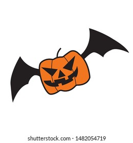 Pumkin bat icon.flat illustration of pumkin bat for web