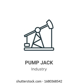 Pump jack outline vector icon. Thin line black pump jack icon, flat vector simple element illustration from editable industry concept isolated stroke on white background