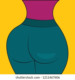 Pumped up in gym female buttocks, curvy body. Vector illustration