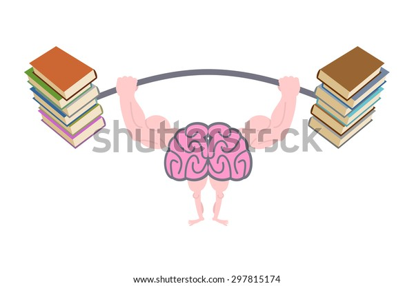Pumping up brains. Strong brain with big muscles are engaged in post from books. Fitness fo mind. Use reading to person