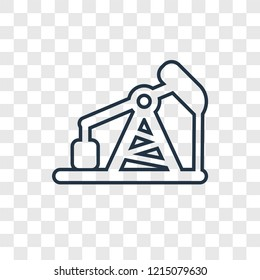Pumpjack concept vector linear icon isolated on transparent background, Pumpjack concept transparency concept in outline style