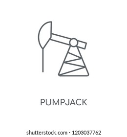 Pumpjack linear icon. Pumpjack concept stroke symbol design. Thin graphic elements vector illustration, outline pattern on a white background, eps 10.