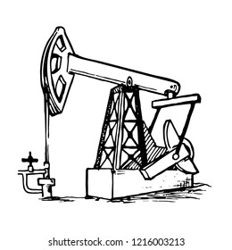 A pumpjack is the overground drive for a reciprocating piston pump in an oil well. Sketch style drawing isolated on a white background. EPS10 vector illustration