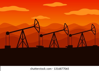 Pumpjacks in a row. Oil field in desert with mountains. Vector illustration.
