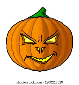 Pumpkin angry for Happy Halloween cartoon icon isolated on white background. Trick or Treat. Vector illustration