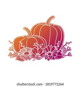 Pumpkin Autumn Thanksgiving Rose Flower with Vintage Fruit Design. Floral frame ornament vector style. Decoration Design Empty illustration.