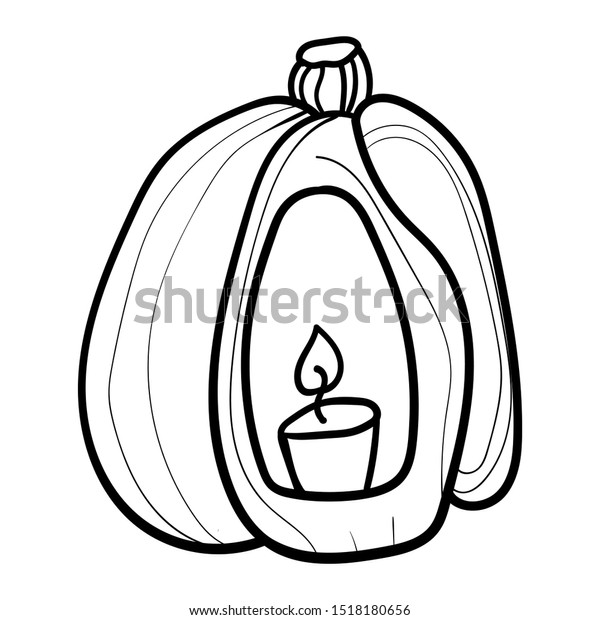 Pumpkin Candle Coloring Page Coloring Book Stock Vector