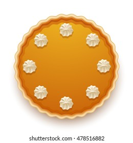 Pumpkin or carrot autumn orange pie with whipped cream on the top. Top view vector illustration, isolated on white.