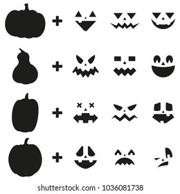 Pumpkin carving ideas jack o lantern face set. Vector design elements of emotion for Halloween. Black silhouette template for a laser or plotter cutting isolated on a white background.
