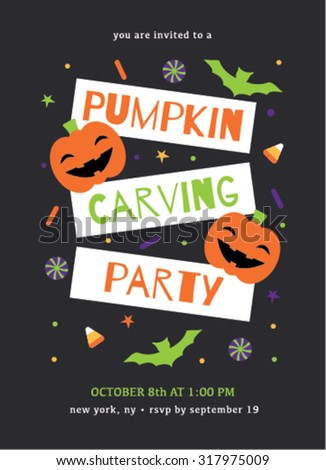 pumpkin carving party invitation stock vector royalty free