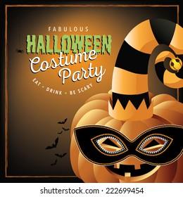 Pumpkin in costume Halloween party EPS 10 vector