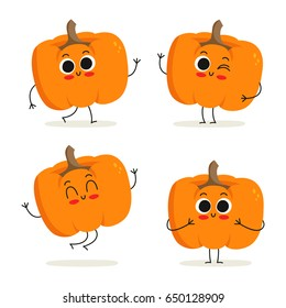 Pumpkin. Cute vegetable vector character set isolated on white