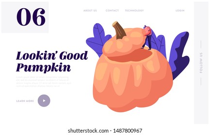 Pumpkin Dish Website Landing Page. Tiny Male Character Stand on Huge Hollow Gourd Prepared for Thanksgiving Day Celebration, Ripe Squash Festive Meal Web Page Banner. Cartoon Flat Vector Illustration