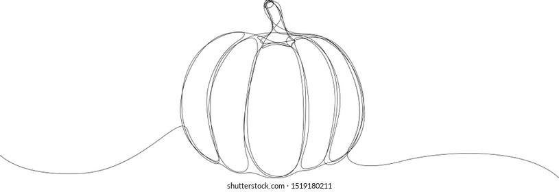 Pumpkin drawn by single line. Minimal style halloween vector illustration