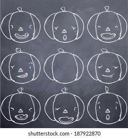Pumpkin emotion set-chalk board