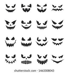 Pumpkin face set, decoration for halloween celebration. Black creepy eyes and smile. Vector pumpkin face illustration on white background