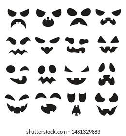 Pumpkin faces. Halloween evil devil face. Scary smile mouth, spooky mean devils nose, jack creepy mouths and pumpkins eyes, lantern goofy black silhouette vector illustration symbols set