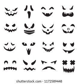 Pumpkin faces. Halloween jack o lantern face silhouettes. Monster ghost carving scary eyes and mouth vector icons set. Illustration of halloween face silhouette, scary monster pumpkin