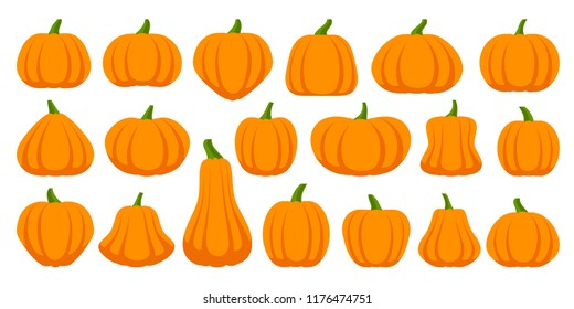 Pumpkin flat icons set. Sign kit of halloween. Thanksgiving pictogram collection farm harvest, closeup squash, vegetable. Simple pumpkin cartoon colorful icon symbol isolated white Vector Illustration