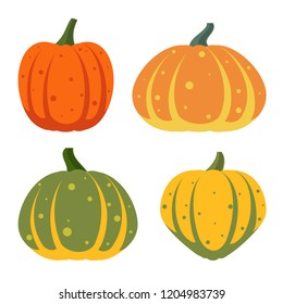 Pumpkin flat icons set. Sign kit of halloween. Thanksgiving pictogram collection of farm harvest, closeup squash vegetable. Simple pumpkin cartoon color icon symbol isolated white. Vector Illustration