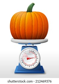Pumpkin fruit on scale pan. Weighing winter squash on scales. Qualitative vector (EPS-10) illustration for agriculture, vegetables, cooking, halloween, gastronomy, thanksgiving, olericulture, etc