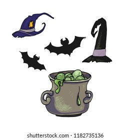 Pumpkin for Halloween. Bottle with poison. Sabbat, the holiday of Halloween. hats of a witch. A pot with a potion. The bats.Cornflower, one of the types of sundew Insectivorous plants in the vector.