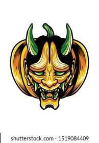 Pumpkin halloween with Demon Mask. Oni mask. hannya mask. Japan mask