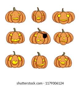 Pumpkin. Halloween pumkin vector orange icons set, set of orange pumkin emoticons