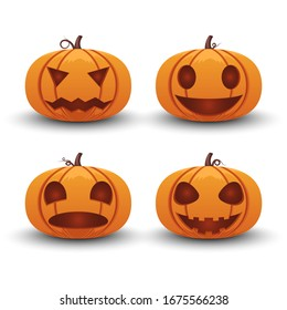 Pumpkin halloween set different emotion isolated on white background, vector illustration