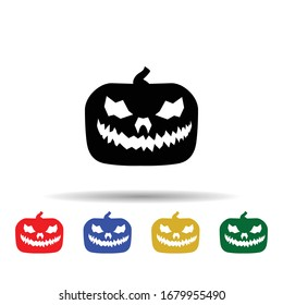 Pumpkin halloween silhouette multi color icon. Simple glyph, flat vector of halloween icons for ui and ux, website or mobile application