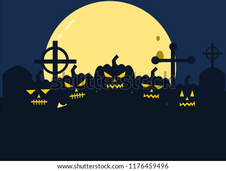 pumpkin halloween yellow eye moonlight background blue stock vector
