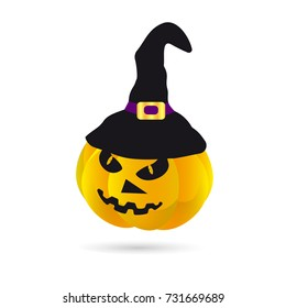 Pumpkin in a hat on halloween on a white background