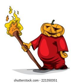 pumpkin Head Character, Holding Torch Happy Halloween Party (Vector Art)