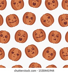 Pumpkin head patterns with emotions. A great pattern on a transparent background, to which you can attach a background of any color.