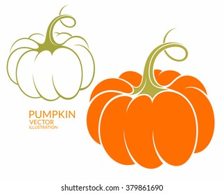 Pumpkin. Healthy food. Logo. Abstract pumpkins on white background. Thanksgiving day