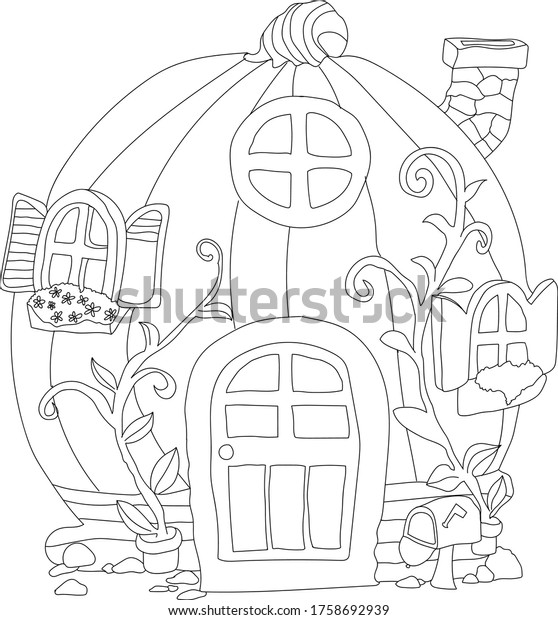 - Pumpkin House Fairytale House Coloring Pages Stock Vector (Royalty Free)  1758692939