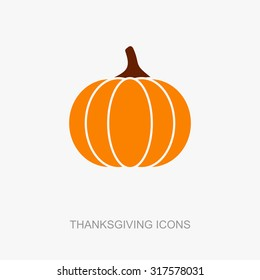 Pumpkin icon, Harvest Thanksgiving vector illustration