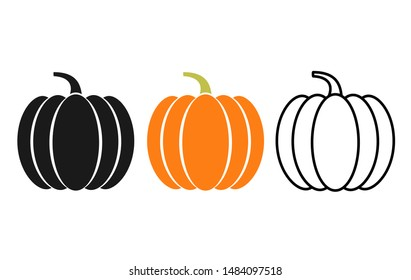 Pumpkin icon. Vector. Autumn Halloween or Thanksgiving pumpkin symbol in flat design, simple, outline. Squash silhouette isolated on white background. Illustration.