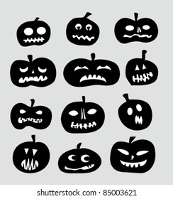 Pumpkin icons, black and white vector
