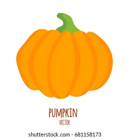 Pumpkin isolated on white. Simple cartoon flat style, vector illustration. Pumpkin logo.Vegetable from the farm. Organic food.