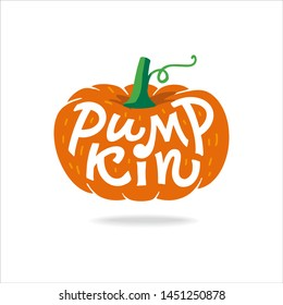 Pumpkin Lettering- Hand drawn vector flat cartoon illustration on isolated white background. Great vegetable Halloween print for labels, Pumpkin pie for Thanksgiving Day