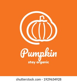 Pumpkin line art logo for your company or your product