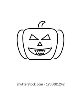 Pumpkin Line Icon Isolated On White Background