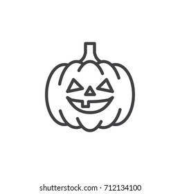 Pumpkin line icon, outline vector sign, linear style pictogram isolated on white. Halloween holiday symbol, logo illustration. Editable stroke