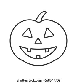 Pumpkin linear icon. Autumn holidays contour symbol. Halloween party decoration thin line illustration. Vector isolated outline drawing
